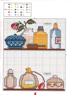 Adorable counted cross-stitch pattern for either bathroom or dressing/vanity area. Cross Stitching, Cross Stitch Embroidery, Cross Stitch Patterns, Beading Patterns, Embroidery Patterns, Cross Stitch Kitchen, Cross Stitch Pictures, Square Patterns, Perler Patterns