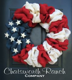 Patriotic Burlap Welcome Door Wreath American Flag Red White Blue Rustic Army Navy Air Force Marines Military 4th of July Independence Day by ChatsworthRanchCo on Etsy https://www.etsy.com/listing/228833933/patriotic-burlap-welcome-door-wreath