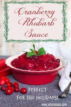 This cranberry-rhubarb sauce is perfect for the holidays. It's sweet and tangy, and it has the most beautiful crimson color. Holiday Recipes, Holiday Foods, Christmas Foods, Cranberry Farm, Rhubarb Sauce, Most Delicious Recipe, Fruit Party, Rhubarb Recipes