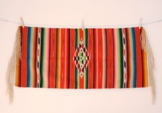 Vintage 30's 40's Mexican Serape Saltillo Rug Runner by rubybubble, $85.00