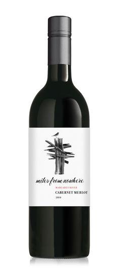 #MilesFromNowhere #Wine #Label #CabernetMerlot #B&W #Packaging #Design