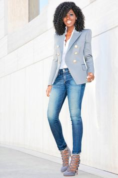 Grey Double Breasted Blazer x Ankle Length Jeans