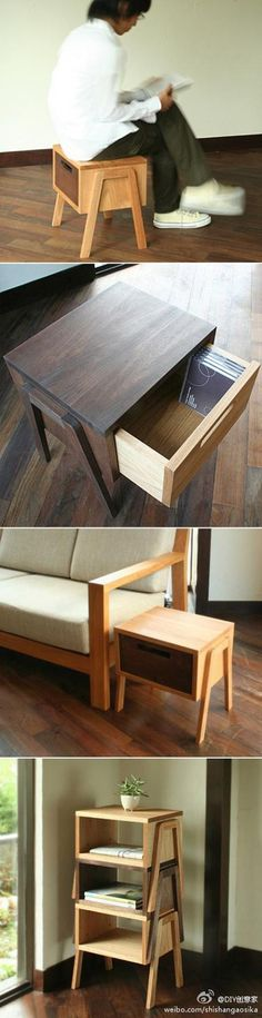 Is a side table, is also a low stool, and can also be stacked up to become a racks.
