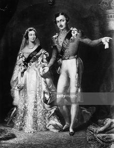 Victoria and Albert. When Queen Victoria married her cousin Albert on February 1840 at the royal chapel of St. James, she wore a white satin dress, a custom which has been imitated since by many brides, royal and not royal. Queen Victoria Family, Queen Victoria Prince Albert, Victoria And Albert, Queen Victoria Wedding Dress, Queen Victoria Facts, Tilda Swinton, St James's Palace, Palace London, Reine Victoria