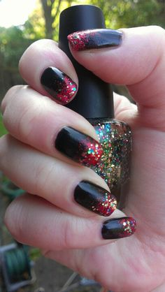 Barry M black,red & glitter gradient nails