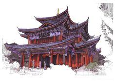 丽江木府手绘彩稿