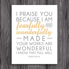 Fearfully Made Psalm 139:14. 8x10in  DIY Printable Christian Poster. PDF. Bible Verse.