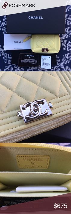 Chanel Boy Card Case Authentic CHANEL boy card case. Pastel yellow lamb skin with gold hardware. Comes with original box, authenticity card, dust bag, and care booklet. CHANEL Accessories Key & Card Holders