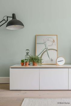Looking at Tessa from inside: Scandinavian living with pastel colors - tvwall Pastel Living Room, Living Room Green, Home Living Room, Living Room Designs, Living Area, Light Green Bedrooms, Light Green Walls, Scandinavian Living, Scandinavian Interior