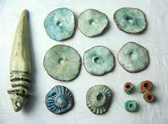 13 Artisan Porcelain Beads handmade Ceramic Clay by greybirdstudio, £28.00