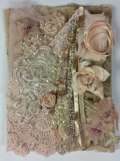 lace and trims pack. lace and trim collection. Shabby Chic Crafts, Vintage Lace Crafts, Upcycled Vintage, Fabric Journals, Fabric Books, Art Journals, Sea Glass Crafts, Ribbon Work, Antique Lace