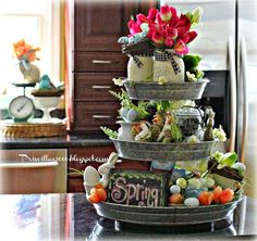 Spring Centerpieces & Shabbilicious Linkup! - All Things Heart and Home
