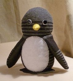 Tutorial - Sock Penguin changed by sewing rather than gluing, slimmed it down and changed the nose.