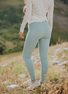 {Go Soft Legging, Millcreek Blue + Go Long Crew, Oatmeal} on this sweet girl | @albionfit