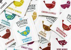 Branding and packaging for organic tea company Higher Living by B&B Studio, United Kingdom