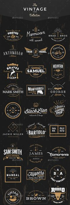 vintage logo 35 Handcrafted logos ideally to start a new branding project. Also, can be used as labels, insignia or badges. The logos were made in Adobe Photoshop, using only free fonts, so it will not be difficult to get them. Adobe Photoshop, Photoshop Tutorial, Logo Maker, Logo Inspiration, Logo Video, Identity Design, Beste Logos, Typography Design, Lettering