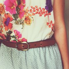 polka dot. mint. floral. leather belt.
