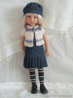 """13"""" Effner Little Darling BJD fashion denim & shrug set OOAK handmade by JEC"""