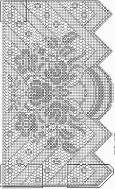 Filet crochet Gardine_Blumenvase