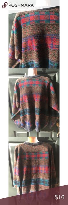 ✨ Vintage Multi Plaid Patterned Oversized Sweater - Vintage multi plaid pattern oversized sweater  - Adorable plaid patterned sweater with multiple plaid designs throughout! - Main colors: red, green, brown  - Looks great with leggings and boots and will keep you nice and warm! - Purchased when abroad in Italy! - Material: 70% Acrylic 30% Wool  - Brand: Vintage - Size: L (and fits Oversized style)  *20% off 2+ * Make me an offer!! Vintage Sweaters Crew & Scoop Necks