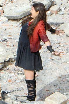 Elizabeth Olsen At Avengers 2: Age Of Ultron Set In Italy