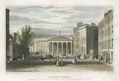 """""""College Street"""" engraved by B.Winkles after a picture by George Petrie, published in Ireland Illustrated ., 1831 (dated Steel engraved antique print, with recent hand colouring. Dublin Street, Dublin City, Old Pictures, Old Photos, Irish Independence, Photo Engraving, Antique Prints, 19th Century, Ireland"""