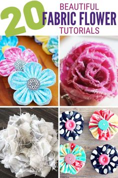These 20 Easy Fabric Flower Tutorials will get you creating for weddings, home decor, and more! Click here for the tutorials! #thecraftyblogstalker #fabricflowers #diyfabricflower #easyfabricflowers #DIYfabricflowers Easy Fabric Flowers, Fabric Flower Tutorial, Diy Flowers, Paper Flowers, Easy Diy Crafts, Cute Crafts, Creative Crafts, Craft Tutorials, Craft Projects