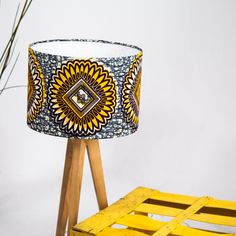 African print lampshade - Lampshade African Wax Print - 30cm lampshade - yellow and grey lampshade - Lamp shade - Ceiling Pendant - Lighting