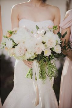 Neutral Wedding Bouquet: Peonies, Tulips, Roses