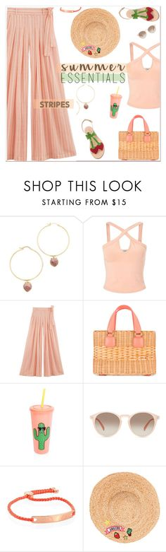 """""""Strong Stripes: Graphic Striped Pants"""" by slavicabojanovic ❤ liked on Polyvore featuring Noir Jewelry, Miss Selfridge, MARA, Mark Cross, Sunnylife, GlassesUSA, Monica Vinader, Hat Attack, Cornetti and stripedpants"""