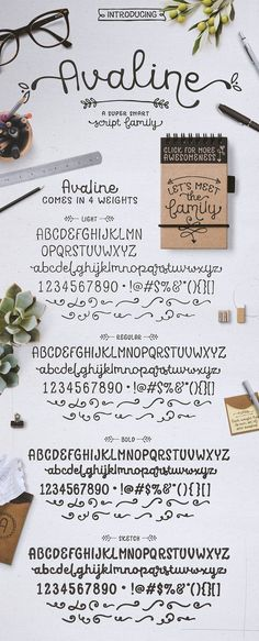 Avaline Script Family + BONUS Extras - a super smart script font that was 100% handmade. It's playful letterforms come in Light, Regular, Bold and one bonus style: Avaline Sketch. Each font has over 2,000 characters with loads of language support and a massive set of fun alternatives. By Kimmy Design $24 #cursive #handwriting #whimsical #affiliatelink