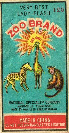 Zoo Brand Firecrackers Vintage Labels, Vintage Ephemera, Vintage Ads, Vintage Images, Vintage Posters, Vintage Fireworks, Matchbox Art, Typography Love, Vintage Graphic Design