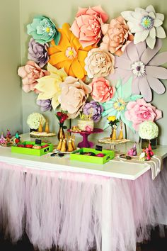 Boho Chic birthday party table with paper flowers