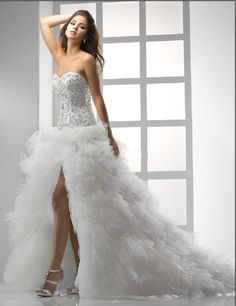 Short Wedding Dress with Long Train