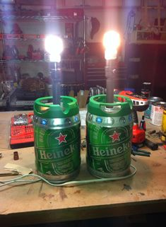 Repurposed heineken keg lamps