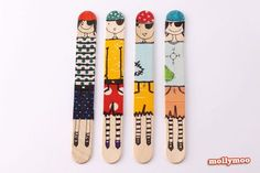 Quick Craft - Craft Stick Dolls. L*O*V*E this craft, especially the simplicity. Make these using only washi tape, markers and craft sticks. The post has examples of pirates, cats, dogs and people.