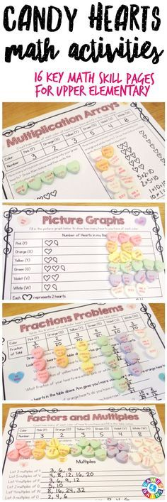 """This is the PERFECT activity for Valentine's Day! I love having holiday activities for upper grade kids that are meaningful review!"" This Valentine's Day Math Conversation Hearts Project contains 16 pages of printable math activities to use with some yummy conversation hearts! These work perfectly for small groups, centers, informal assessments, review, etc. Ideal for grades 4-6."