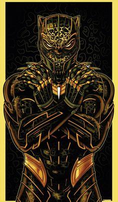 Golden Jaguar (Killmonger) Part of my new ICON series. Black Panther Marvel, Black Panther Art, Deadpool Wallpaper, Avengers Wallpaper, Golden Jaguar Marvel, Marvel Art, Marvel Heroes, Black Panther Hd Wallpaper, Marshmello Wallpapers