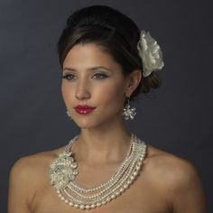 Vintage Ivory Pearl & Austrian Crystal Flower Jewelry Set. Kim's Bridal, Keywords:  #michiganeventrentals #michiganbridalshop #weddingrentals #weddingaccessories #kimsbridal Follow Us: http://www.kimsgiftbaskets.com/ ... https://www.facebook.com/KimsGifts