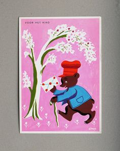 Vintage 60s Postcard Childrens, with Bear