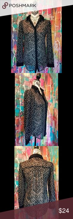 """Fun & Flirt Small Sheer crosses print blouse black Women's Fun & Flirt Sheer crosses print blouse button down,long sleeve top.  Color - black ground and white printed crosses  Size small  Measurements laid flat Armpit to Armpit = 19"""" Length from shoulder to hem= 25""""  Great pre loved condition without any noted flaws. If you have any questions please do not hesitate to ask- we will reply to you as quickly as possible fun & flirt Tops"""
