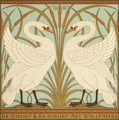 Originally created as a wallpaper dado panel, this design by Victorian illustrator and artist Walter Crane has been faithfully reproduced as a poster. It is hand-printed in eight colors, comes in two different colorways, and is suitable for framing