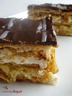 😋 milhojas so fucking delicious ! Layered Desserts, Just Desserts, Delicious Desserts, Yummy Food, Cuban Recipes, Sweet Recipes, Bakery Recipes, Dessert Recipes, Choco Chocolate