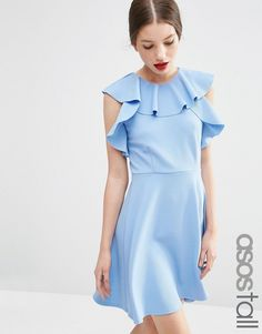 ASOS TALL Skater Dress with Ruffle Neck