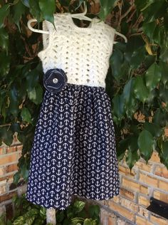 Girls Top, Crochet Top, Girls Dress, Nautical White and Navy Fabric, Flower Clip  Size 2T-3T Girlssummerdress by WitasCreations on Etsy