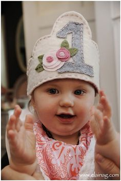 1st Birthday Hat.   Cassy this one is cute!! Pink and grey!