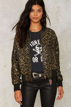 Nasty Gal Can't Fight this Feline Bomber Jacket