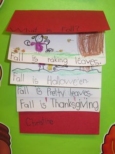 A writing flip book for fall. Love the flexibility of the sentence stem. Great for practicing sentence writing, punctuation, and capitalization!