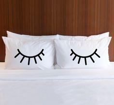 Pillowcases for Bedroom, Gift for Bed Pillows, Eyelids Shut Eye Eyelash Pillowcase Set for Her Girls Bedroom Home Decor (Item - PEY400)