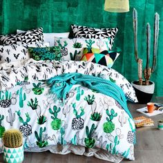 I Freaking love this bedspread Home Republic Design Series Cactus Quilt Cover Set, quilt covers, quilt cover sets -- Designed by Rebecca Jones My New Room, My Room, Dorm Room, Home Republic, Sala Grande, Design Living Room, Cactus Decor, Cactus Cactus, Garden Cactus